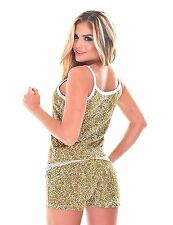 Women's Short and Camisole PJ SET / 2 Piece Pajama with Tank Top & Short - Beige