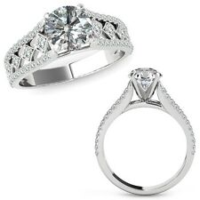 0.75 Carat Diamond Beautiful Solitaire Halo Engagement Ring Band 14K White Gold