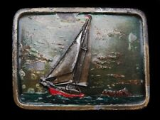 LF21117 VINTAGE 1978 ***SAILBOAT*** ON THE OCEAN NEAR ISLAND BELT BUCKLE