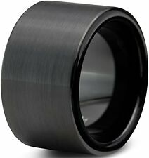 12mm Tungsten Carbide Black Flat Brushed Pipe Cut Wedding Band Ring