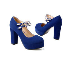 Womans Sexy Block High Heel Ankle Strap Suede Platform Shoes