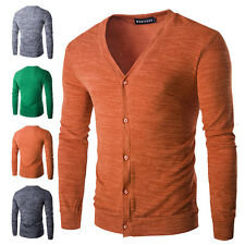 Men's Fashion Smart Slim Fit V-neck Buttons Placket Knitted Sweater Basic Tops