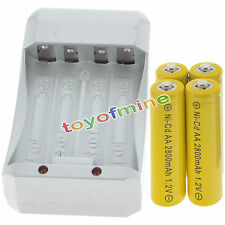 4 AA Yellow Rechargeable Batteries NiCd 2800mAh 1.2v Solar Light + Charger