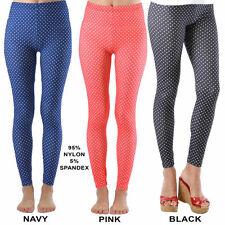 Dinamit Jeans Women's Fashion Seamless White Polka Dot Footless Leggings