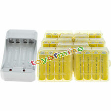 32AA Yellow Rechargeable Batteries NiCd 2800mAh 1.2v Solar Light+Charger+8xCase