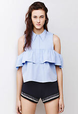Zara Poplin Frilled Cut Out Open Shoulder Shirt Blouse Top XS S Bloggers Fave