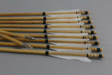 Handmade Wooden Arrows White Flame Feathers Archery Practice For Recurve Longbow