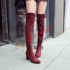 WOMENS SEXY MID CUBAN HEEL SUEDE OVER KNEE HIGH BOOTS POINTY TOE DRESS SHOES NEW