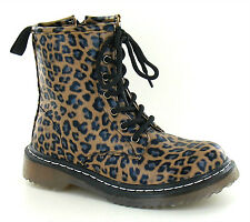 NEW GIRLS WOMENS LEOPARD ANKLE DR DOC BOOTS CLASSIC 7 EYELET PUNK SHOES SIZE 3-8