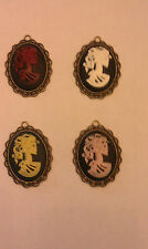 Gothic Goth LADY SKELETON SKULL CAMEO Pendant For Necklace Chain ~LARGE W/O BAIL