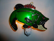 "STAINED GLASS STYLE "" BASS ""  NIGHT LIGHT"