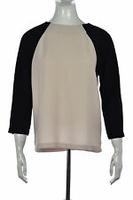 J Crew Womens Black Color Block Blouse Sz 6 3/4 Sleeve Polyester Top Shirt