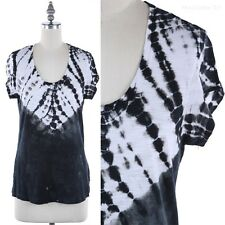 Tie Dye Short Sleeve Scoop Neck T Shirt Top Casual Cotton Modal Easy Wear S M L