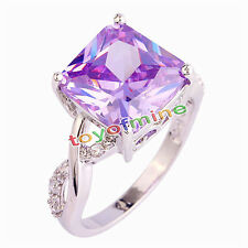 Fashion Women Tourmaline White Topaz Gemstone Silver Jewelry Ring Size 6 7 8 9