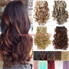 Women real Hair Extension Natural Long 3/4 Full Hairpiece Head Clip in synthetic