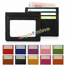 Genuine Real Leather RFID Blocking Slim Thin Credit ID Card Holder Case Wallet