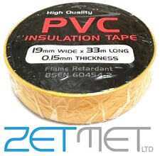 YELLOW PVC Electrical Insulation / Insulating Tape 19mm x 33m Flame Retardant