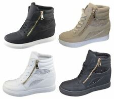 Womens Girls Ankle High Top Diamante Wedge Heel Trainers Sneakers Shoes