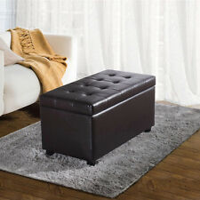 Storage Bench Ottoman Faux Leather Footstool Coffee Table Seat 5 Colors NEW