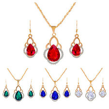Women's CZ Crystal Wedding Jewelry Sets Gold Plated Chain Necklace+Earrings BF
