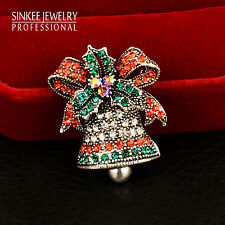 Christmas Gifts Rhinestone Bells Brooches Pink Antique Gold/Silver Plated Xz088
