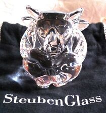 Limited Edition STEUBEN Glass BULL Hand Cooler signed crystal paperweight New!