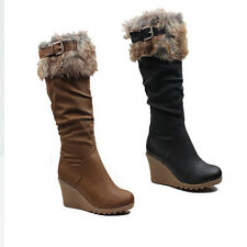 WOMENS LADIES WINTER FUR LINED HIGH WEDGE HEEL KNEE HIGH BOOTS SHOES SIZE 3-8
