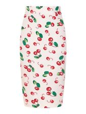 Collectif Fiona 50s Ivory & Red Cherry Print High Waisted Wiggle Skirt pin up