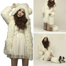 Womens Fleece Bear Hooded Fluffy Wool Parka Coat Jacket Trench Cardigan Outwear