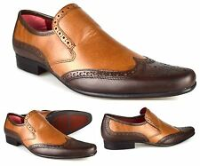 Red Tape Mens Real Leather Cullen Formal Slip on Brown Tan Brogues Shoes Size