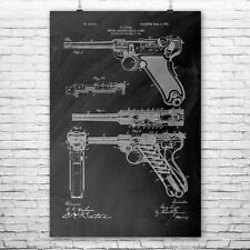 Luger Pistol Handgun Poster Patent Print Gift Luger Poster Ww2 Poster Ww2 WWII