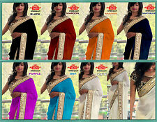 Bollywood Indian Party Wear Saree Pakistani Sari Designer Bridal Wedding Saree