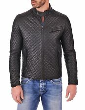 Mens Real Genuine Lambskin Leather Motorcycle Jacket Slim fit Biker Jacket KB581