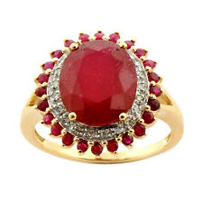 Ruby 7.00 Carat Genuine Gemstone Diamond Ring In 9kt Solid Yellow Gold Jewelry