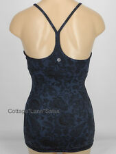 NEW LULULEMON Power Y Tank Top Sz 4 Paisley Inkwell Black Navy NWT FREE SHIP