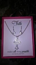 FAITH CROSS 3 Necklace Silver Chain and ear rings. Nice Gift