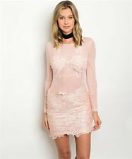 Sexy Pink Sheer All Over Mesh Lace Detail Long Sleeve Bodycon Mini Club Dress