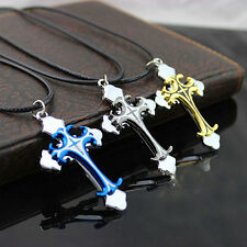 Men's Fashion Stainless Steel Cross Pendant Leather Cord Chain Necklace Happy