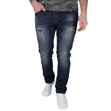 Mens Soulstar Distressed Pants Slim Fit With Worn Rips Patch Casual Jeans