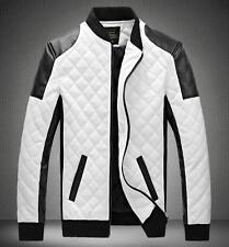 Mens Black/White Leisure Blazer Slim fit Zip Faux pu leather Basic Jacket Coat #