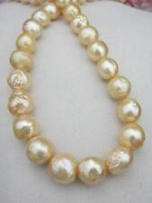 """NATURAL HUGE 11-13MM South Sea Golden Pearl Necklace 18"""" 14k GOLD CLASP"""