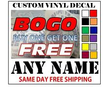 CUSTOM VINYL DECALS / STICKER - ANY NAME OR TEXT - FAST FREE SHIPPING - BOGO