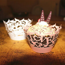 50x Love Cake Cupcake Wrappers Wraps Muffin Cases Baking Cup Case Wedding Party