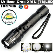 5000LM CREE T6 LED Torch Zoomable Military Police Flashlight Lamp FREE 18650 Set