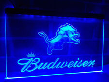 Detroit Lions football LED Neon Sign On/Off Budweiser beer Bar Pub Room decor