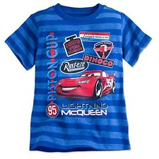 NWT Disney Store Cars Lightning McQueen Striped Tee T-Shirt Tees NEW 4 5 6 7 8