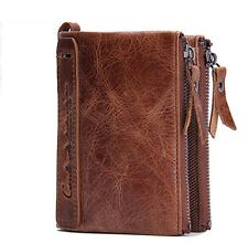Genuine Leather Men Wallet Coin Purse Card Holder Zipper Small Clutch Bags