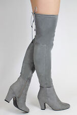 New Womens Suede Over The Knee Boots Block High Heel Lace Thigh Stretch Shoes
