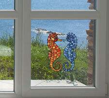 "CLR:WND - Seahorse - Stained Glass Window Vinyl Decal ©YYDC (Singles)(2""W x 5""H)"