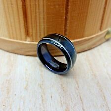 8mm wide Tungsten Carbide Black IP Plated DOME With TWO LINES Wedding Band Ring